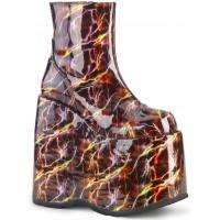 Slay Burgundy Lightning Hologram Platform Ankle Boot