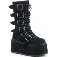 Damned Black Velvet Buckled Gothic Boots for Women