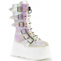 Damned Pearl Shimmer Buckled Boots for Women