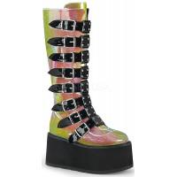 Damned Shimmering Pink Glitter Knee Boots