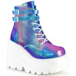 Purple Iridescent Wedge Heel Womens Ankle Boot Mild to Wild Womens Shoes  Shoes for Women from Flats to Extreme High Heels & Platforms