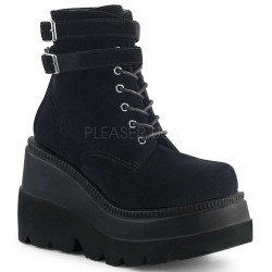 Shaker 52 Black Velvet Stacked Wedge Ankle Boot Mild to Wild Womens Shoes  Shoes for Women from Flats to Extreme High Heels & Platforms
