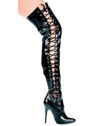 Ferocious Side Lacing Thigh High 5 Inch Heel Boot