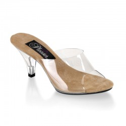 Belle Clear and Tan Peep Toe Slide Mild to Wild Womens Shoes  Shoes for Women from Flats to Extreme High Heels & Platforms