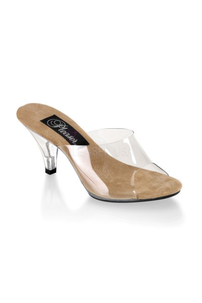 Belle Clear and Tan Peep Toe Slide at Mild to Wild Womens Shoes,  Shoes for Women from Flats to Extreme High Heels & Platforms