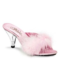 Belle Baby Pink Maribou Satin Slipper