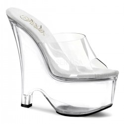 Beau Clear Wedge Peep Toe Mule Mild to Wild Womens Shoes  Shoes for Women from Flats to Extreme High Heels & Platforms