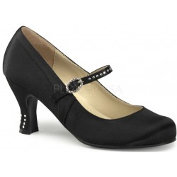 Flapper Black Satin Mary Jane Pump Mild to Wild Womens Shoes  Shoes for Women from Flats to Extreme High Heels & Platforms