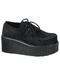 Black Suede Woven Womens Creeper