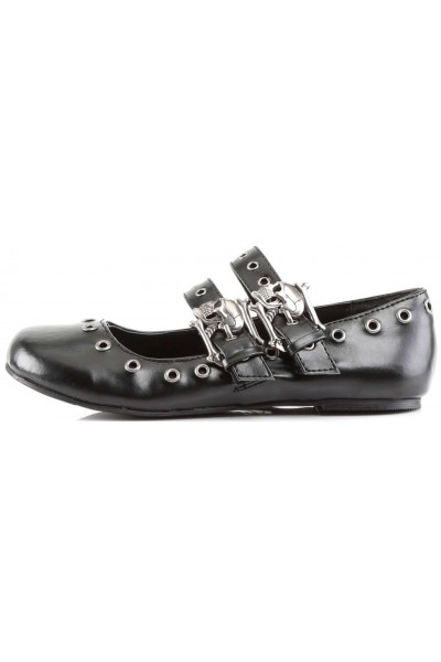 Skull Buckle Mary Jane Flat Gothic Shoes at Mild to Wild Womens Shoes,  Shoes for Women from Flats to Extreme High Heels & Platforms