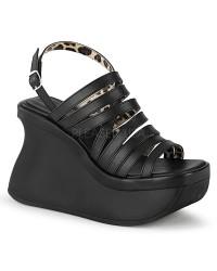 Pace Black Multi-Strap Platform Sandal