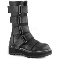 Lilith Black Wide Strap Mid-Calf Boots