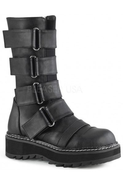 Lilith Black Wide Strap Mid-Calf Boots at Mild to Wild Womens Shoes,  Shoes for Women from Flats to Extreme High Heels & Platforms
