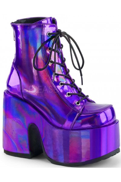 Purple Hologram Chunky Platform Boots Gothic Boots For Women