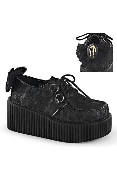 Black Lace Overlay Womens Creeper Shoe at Mild to Wild Womens Shoes,  Shoes for Women from Flats to Extreme High Heels & Platforms