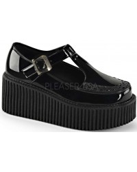 Platform T-Strap Black Creeper for Women