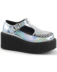Platform T-Strap Silver Hologram Creeper for Women