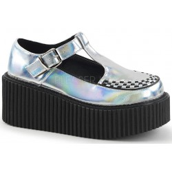 Platform T-Strap Silver Hologram Creeper for Women Mild to Wild Shoes  Shoes for Women from Flats to Extreme High Heels & Platforms