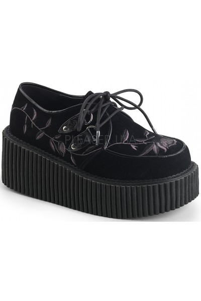 Embroidered Floral Black Faux Suede Womens Creeper at Mild to Wild Womens Shoes,  Shoes for Women from Flats to Extreme High Heels & Platforms
