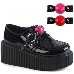 Ball Gag Black Faux Leather Womens Creeper