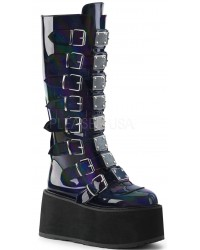 Damned Black Hologram Gothic Knee Boots for Women