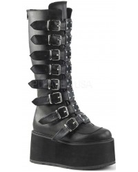 Damned Black Faux Leather Gothic Knee Boots for Women