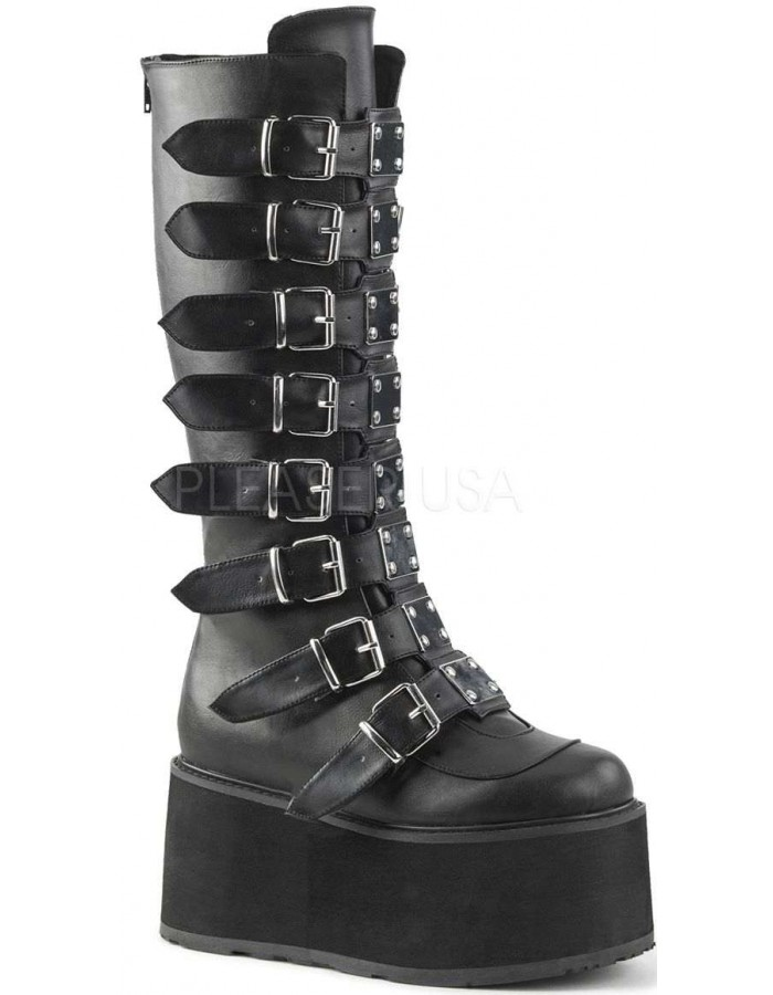 Damned Black Faux Leather Gothic Knee