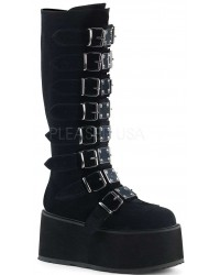 Damned Black Velvet Gothic Knee Boots for Women