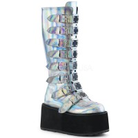 Damned Silver Hologram Gothic Knee Boots for Women