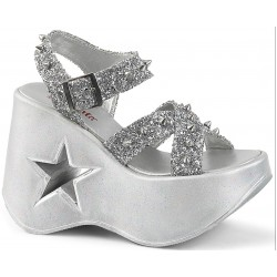 Dynamite Star Womens Platform Silver Sandal Mild to Wild Womens Shoes  Shoes for Women from Flats to Extreme High Heels & Platforms