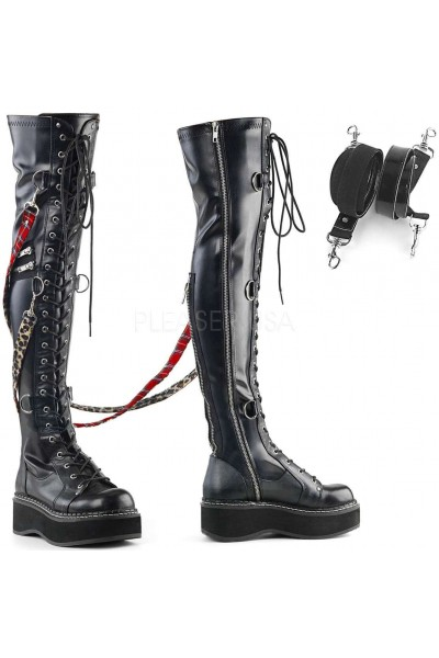 Emily Bondage Strap Low Platform Thigh High Gothic Boot at Mild to Wild Womens Shoes,  Shoes for Women from Flats to Extreme High Heels & Platforms