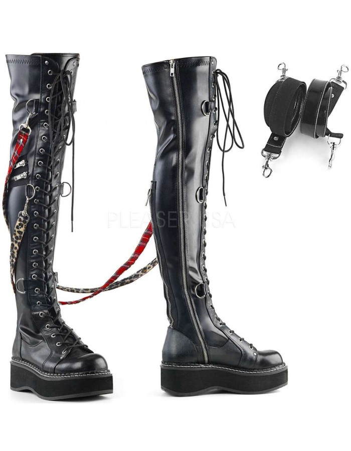 720f193dec Emily Bondage Strap Low Platform Thigh High Gothic Boot at Mild to Wild  Womens Shoes,