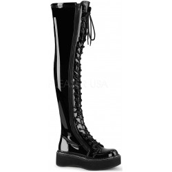 Emily Black Patent Thigh High Gothic Platform Boot Mild to Wild Womens Shoes  Shoes for Women from Flats to Extreme High Heels & Platforms