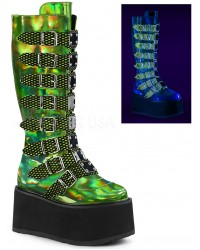 Damned Lime Green Hologram Knee Boots for Women