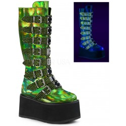 Damned Lime Green Hologram Knee Boots for Women Mild to Wild Womens Shoes  Shoes for Women from Flats to Extreme High Heels & Platforms