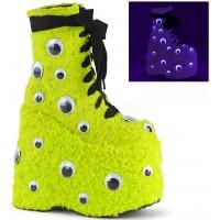 Slay Lime Green Googly Eye Platform Boots