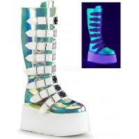 Damned Shimmering Green UV Knee Boots
