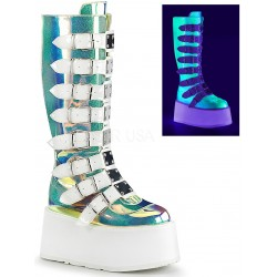 Damned Shimmering Green UV Knee Boots Mild to Wild Womens Shoes  Shoes for Women from Flats to Extreme High Heels & Platforms