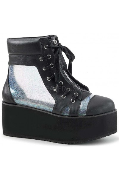 Grip 102 Platform Ankle Boot with Holographic Panels at Mild to Wild Womens Shoes,  Shoes for Women from Flats to Extreme High Heels & Platforms