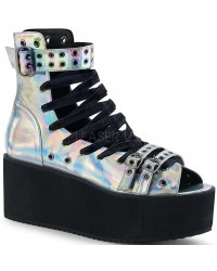 Grip 105 Silver Hologram Peep Toe Platform Ankle Boot