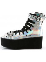 Grip 105 Silver Hologram Peep Toe Platform Ankle Boot at Mild to Wild Womens Shoes,  Shoes for Women from Flats to Extreme High Heels & Platforms