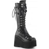 Kera Black Platform Knee High Buckled Boots