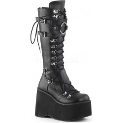 Kera Black Platform Knee High Buckled Boots Mild to Wild Womens Shoes  Shoes for Women from Flats to Extreme High Heels & Platforms