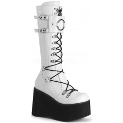 Kera White Platform Knee High Buckled Boots Mild to Wild Womens Shoes  Shoes for Women from Flats to Extreme High Heels & Platforms