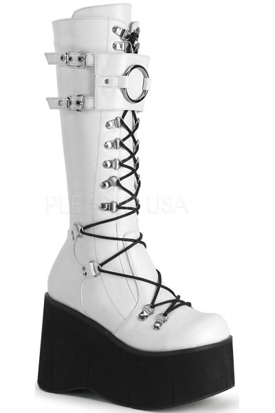 Kera White Platform Knee High Buckled Boots at Mild to Wild Womens Shoes,  Shoes for Women from Flats to Extreme High Heels & Platforms