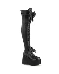 Kera Black Platform Thigh High Boots with Bow