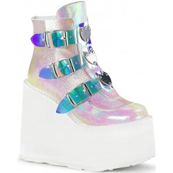 Pearl White Iridescent Platform Wedge Ankle Boots Mild to Wild Womens Shoes  Shoes for Women from Flats to Extreme High Heels & Platforms