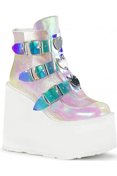 Pearl White Iridescent Platform Wedge Ankle Boots at Mild to Wild Womens Shoes,  Shoes for Women from Flats to Extreme High Heels & Platforms