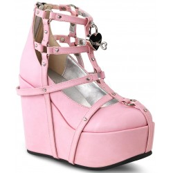 Heart Charm Poison Pink Cage Wedge Gothic Shoe Mild to Wild Womens Shoes  Shoes for Women from Flats to Extreme High Heels & Platforms