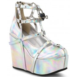 Heart Charm Poison Hologram Cage Wedge Gothic Shoe Mild to Wild Womens Shoes  Shoes for Women from Flats to Extreme High Heels & Platforms